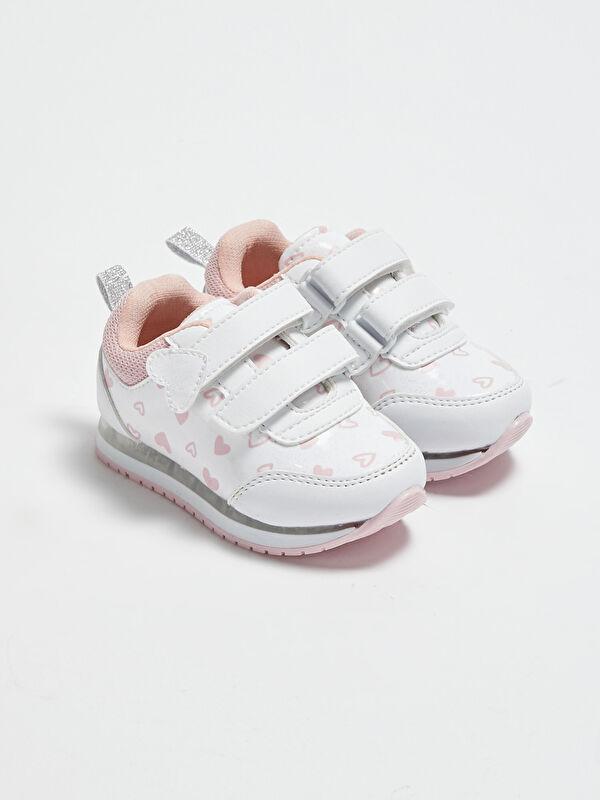 Kız Bebek Baskılı Cırt Cırtlı Spor Ayakkabı - LC WAIKIKI