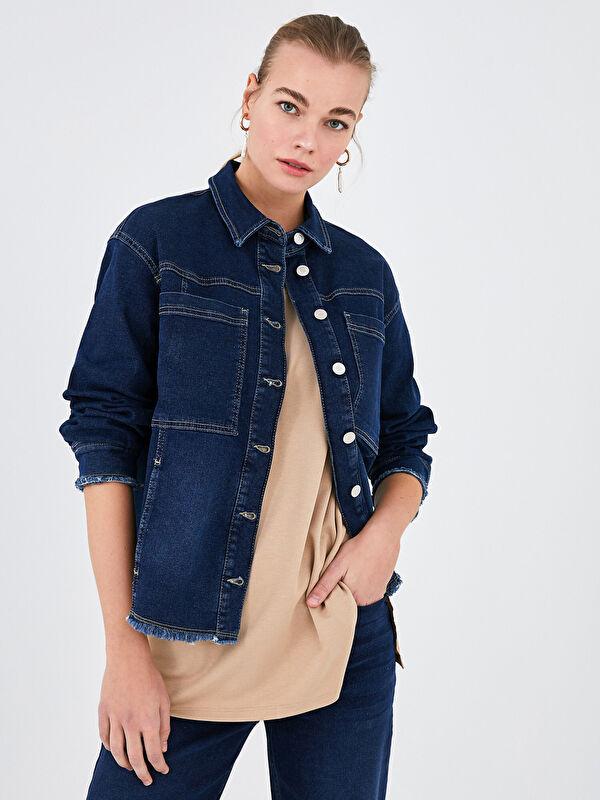 LCW CLASSIC Gömlek Yaka Cep Detaylı Uzun Kollu Kadın Jean Ceket - LC WAIKIKI