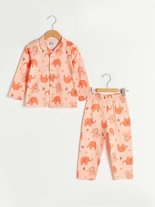 Gömlek Yaka Uzun Kol Baskılı Pamuklu Kız Bebek Pijama Takımı - LC WAIKIKI