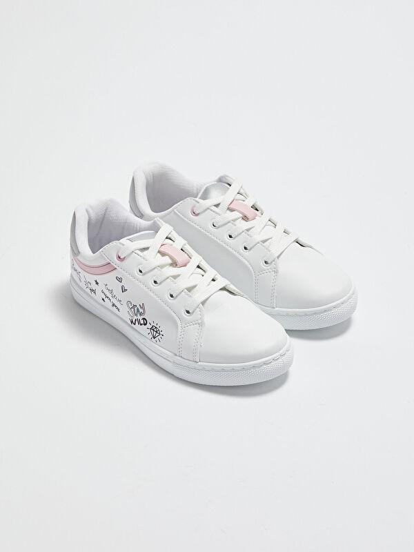 Baskı Detaylı Bağcıklı Kız Çocuk Spor Ayakkabı - LC WAIKIKI