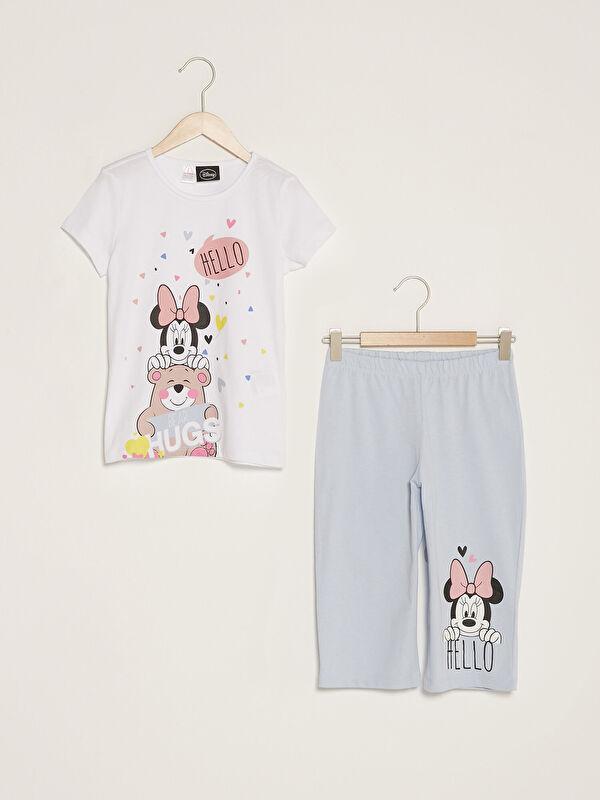 Bisiklet Yaka Minnie Mouse Baskılı Kısa Kollu Kız Çocuk Pijama Takımı - LC WAIKIKI