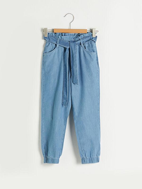 Beli Lastikli Kız Çocuk Jean Jogger Pantolon - LC WAIKIKI
