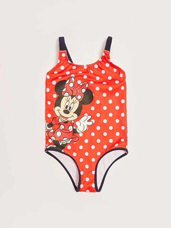 Esnek Kumaştan Minnie Mouse Baskılı Kız Çocuk Mayo - LC WAIKIKI