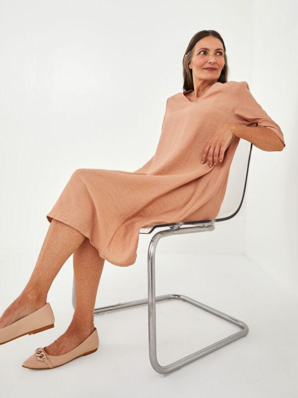 LCW GRACE V Yaka Düz Kısa Kollu A Kesim Kadın Elbise - LC WAIKIKI