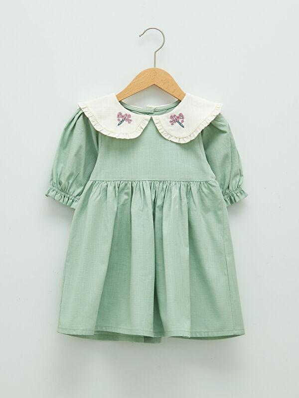 Bebe Yaka Uzun Kollu Nakış Detaylı Kız Bebek Elbise - LC WAIKIKI