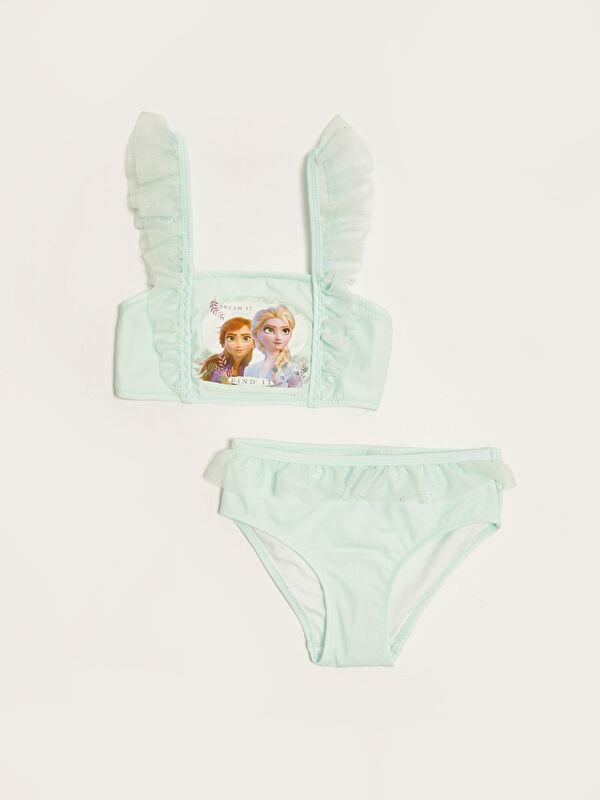 Esnek Kumaştan Frozen Baskılı Fırfır Detaylı Kız Çocuk Bikini - LC WAIKIKI