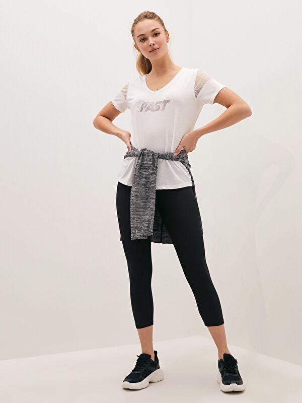 V Yaka Baskılı Kısa Kollu Aktif Spor Kadın Tişört - LC WAIKIKI
