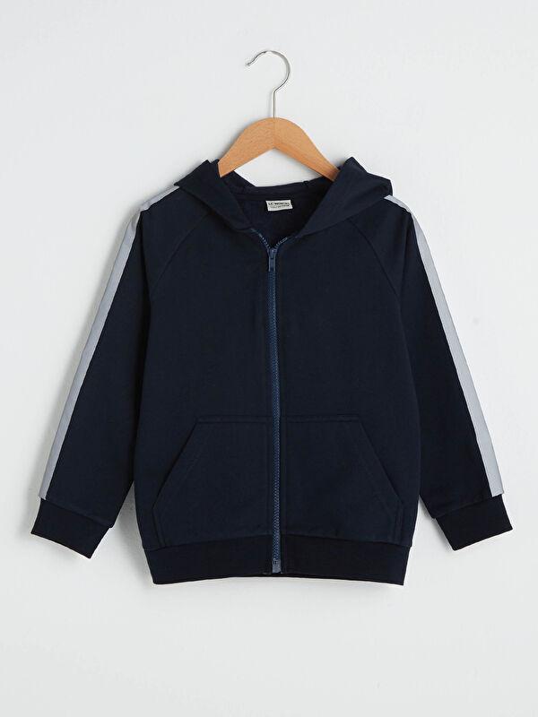 Kapüşonlu Uzun Kollu Erkek Çocuk Fermuarlı Sweatshirt - LC WAIKIKI