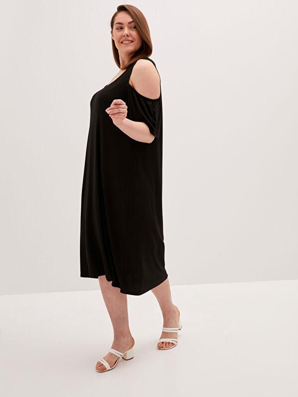 LCW CLASSIC U Yaka Düz Kısa Kollu Viskon Kadın Elbise - LC WAIKIKI