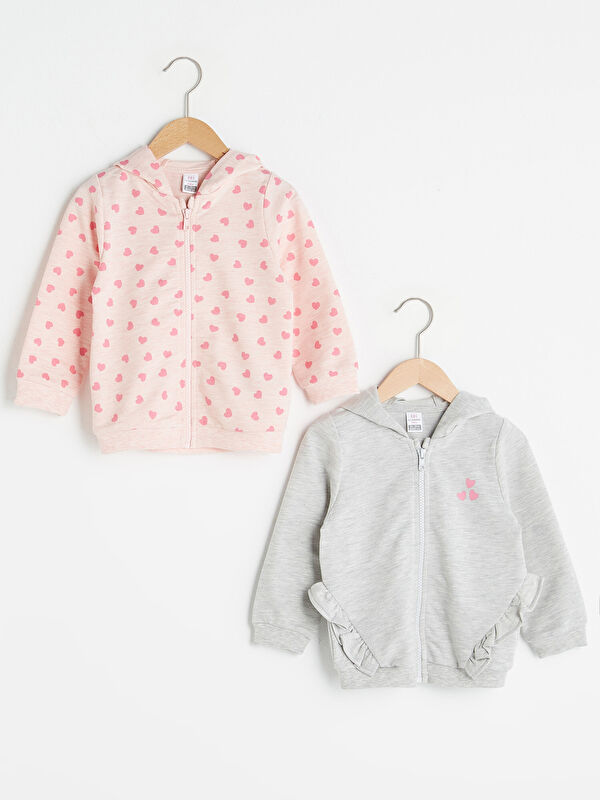 Kapüşonlu Uzun Kollu Kız Bebek Fermuarlı Sweatshirt 2'li - LC WAIKIKI