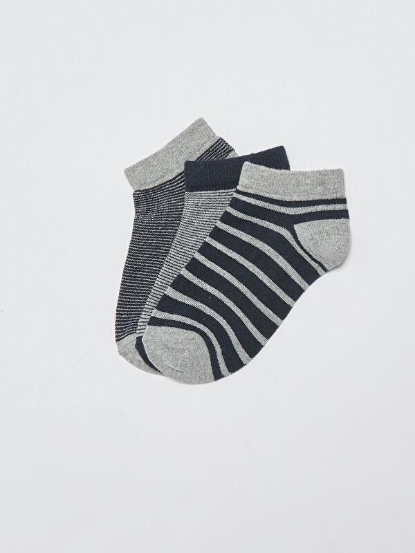 Çizgili Erkek Çocuk Patik Çorap 3'lü - LC WAIKIKI