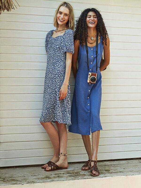 LCW CLASSIC Askılı Önden Düğmeli A Kesim Kadın Elbise - LC WAIKIKI