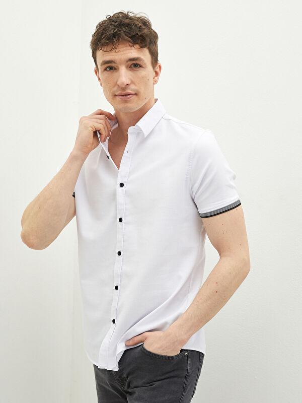 LCW CASUAL Slim Fit Kısa Kollu Oxford Erkek Gömlek - LC WAIKIKI