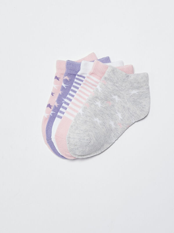 Desenli Çizgili Kız Bebek Patik Çorap 5'li - LC WAIKIKI