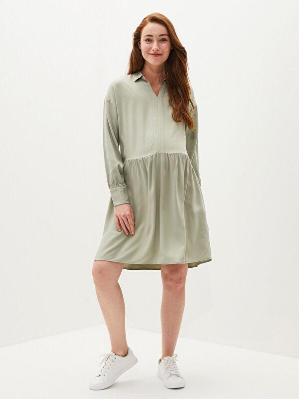 Gömlek Yaka Düz Uzun Kollu Belmando Kumaş Hamile Elbise - LC WAIKIKI