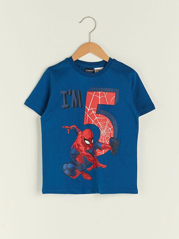 Bisiklet Yaka Spiderman Baskılı Kısa Kollu Pamuklu Erkek Çocuk Tişört - LC WAIKIKI