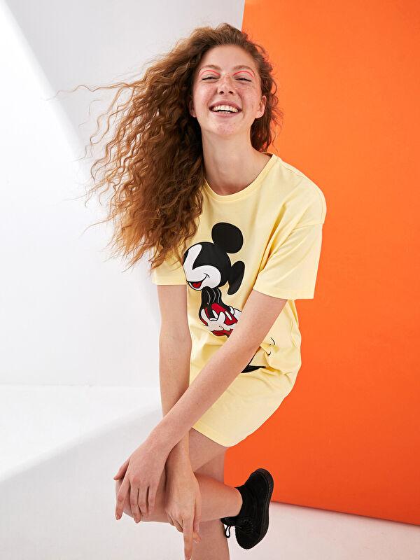 XSIDE Bisiklet Yaka Mickey Mouse Baskılı Kısa Kollu Pamuklu Kadın Elbise - XSIDE
