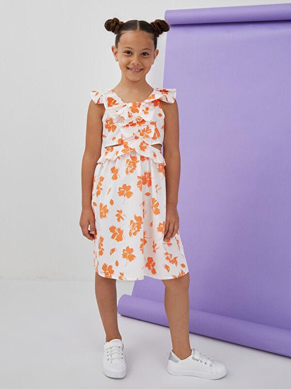 V Yaka Desenli Poplin Kız Çocuk Elbise - LC WAIKIKI