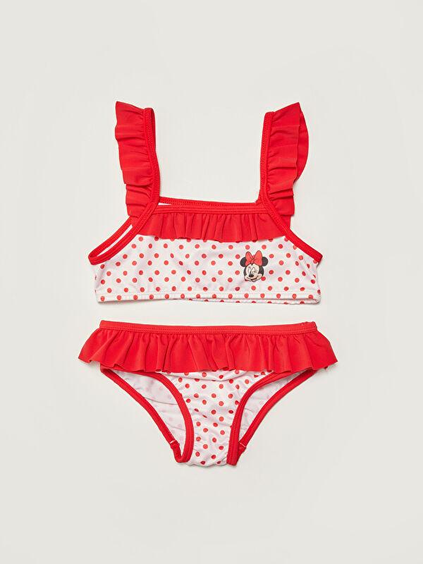 Esnek Kumaştan Minnie Mouse Baskılı Kız Bebek Bikini Takımı - LC WAIKIKI