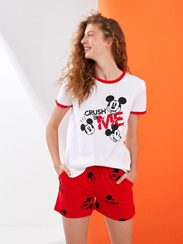 XSIDE Beli Lastikli Mickey Mouse Baskılı Pamuklu Kadın Şort - XSIDE