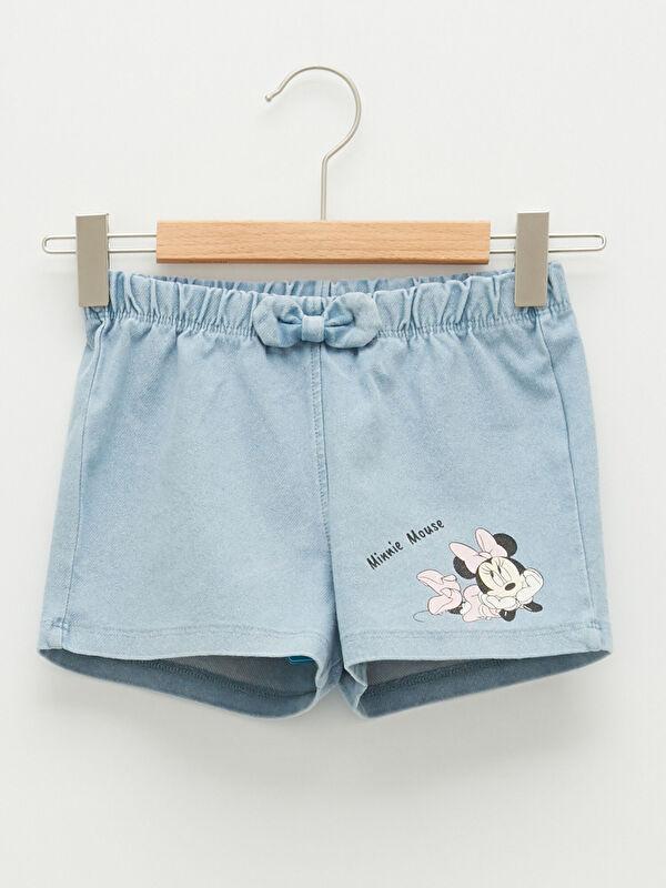 Beli Lastikli Minnie Mouse Baskılı Kız Bebek Jean Şort - LC WAIKIKI