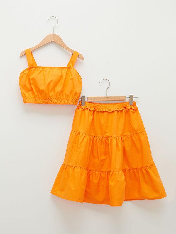 Basic Askılı Poplin Kız Çocuk Bluz ve Etek - LC WAIKIKI