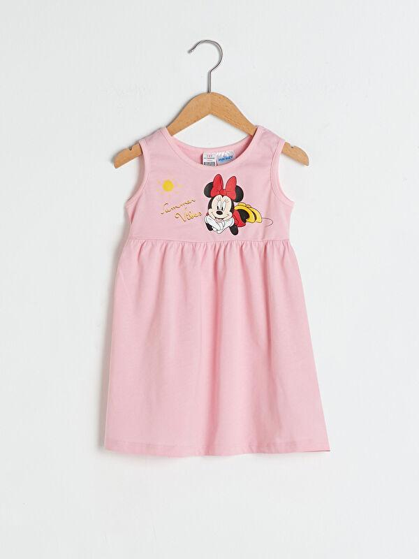 Bisiklet Yaka Minnie Mouse Baskılı Kız Bebek Elbise - LC WAIKIKI