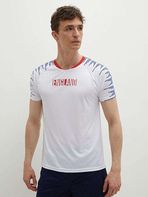 V Yaka Kısa Kollu UEFA EURO 2020 İngiltere Baskılı Aktif Spor Erkek Taraftar Tişört - LC WAIKIKI