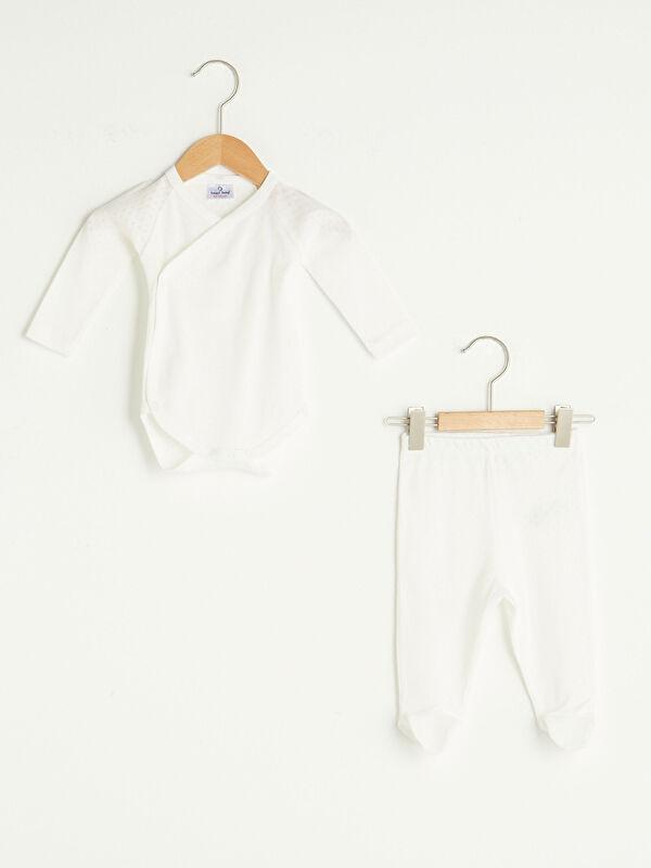 Luggi Baby Zarf Yaka Uzun Kollu Organik Pamuklu Kız Bebek Çıtçıtlı Body ve Patikli Pantolon 2'li Takım - Markalar