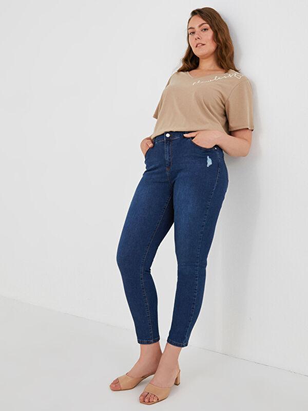 Yüksek Bel Slim Fit Cep Detaylı Kadın Rodeo Jean Pantolon - LC WAIKIKI