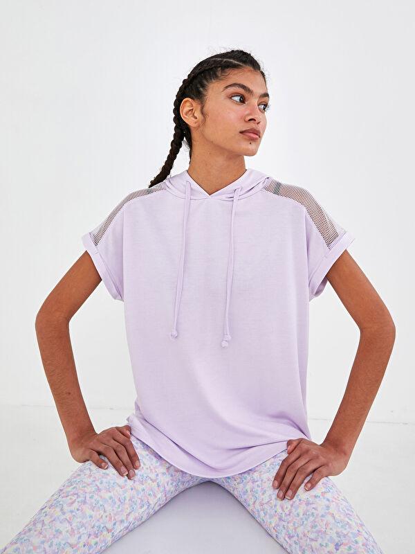 Kapüşon Yaka Baskılı Kısa Kollu Aktif Spor Kadın Tişört - LC WAIKIKI
