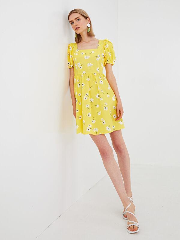 LCW VISION Kare Yaka Çiçek Baskılı Kısa Kollu Poplin Kumaş Kadın Elbise - LC WAIKIKI