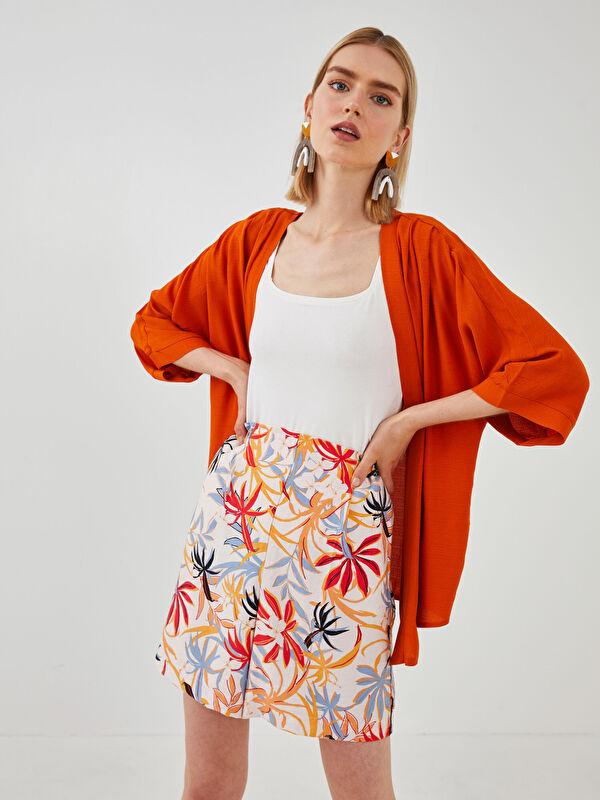 LCW VISION Şal Yaka Düz Uzun Kollu Keten Görünümlü Kumaş Kadın Kimono - LC WAIKIKI