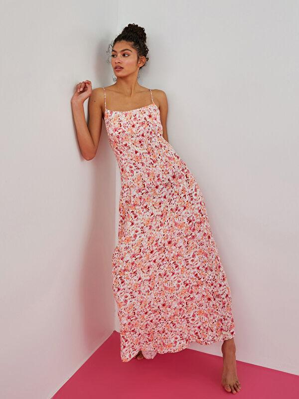 LCW LIMITED İp Askılı Desenli Maroken Kumaş Kadın Elbise - LC WAIKIKI