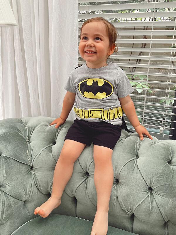 Bisiklet Yaka Kısa Kollu Batman Baskılı Erkek Bebek Kostüm - LC WAIKIKI