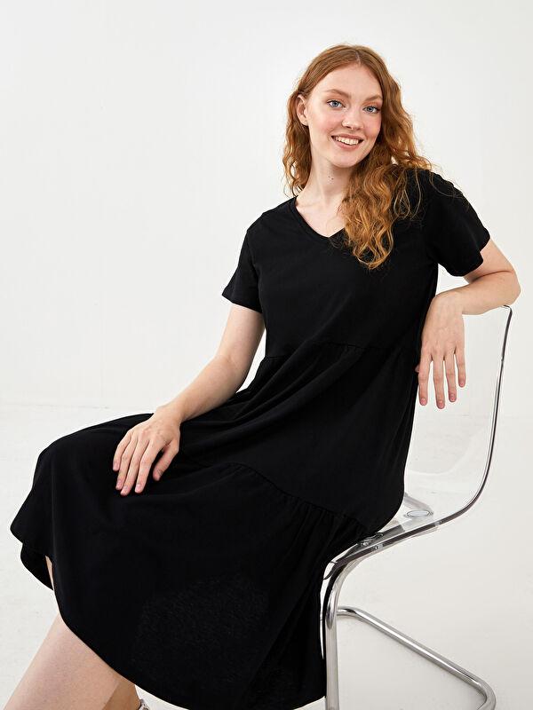 V Yaka Düz Kısa Kollu A Kesim Kadın Elbise - LC WAIKIKI
