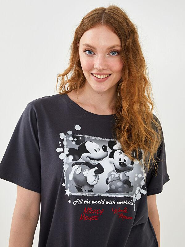 Bisiklet Yaka Mickey Mouse Baskılı Kısa Kollu Pamuklu Kadın Tişört - LC WAIKIKI