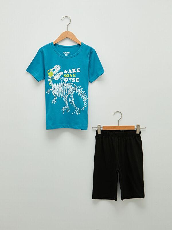 Bisiklet Yaka Baskılı Kısa Kollu Erkek Çocuk Şortlu Pijama Takımı - LC WAIKIKI