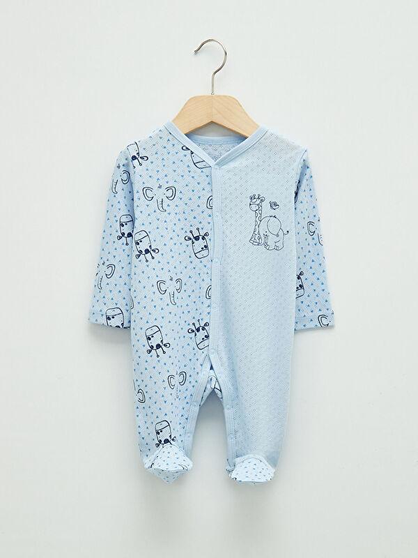 Luggi Baby V Yaka Kendinden Desenli Pamuklu Erkek Bebek Tulum - Markalar