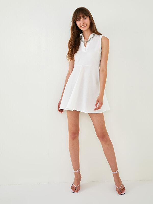 Quzu V Yaka Kolsuz Düz Kadın Elbise - Markalar