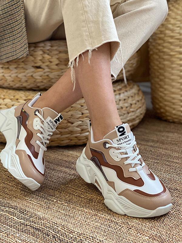 Dark Seer Renk Bloklu Bağcıklı Kadın Aktif Spor Ayakkabı - Markalar