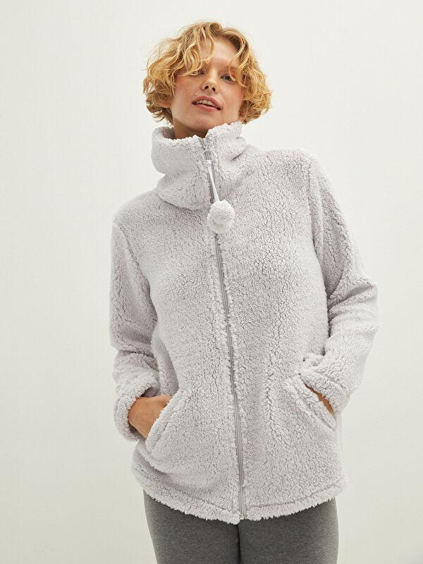 Gömlek Yaka Düz Cep Detaylı Kadın Peluş Pijama Üst - LC WAIKIKI