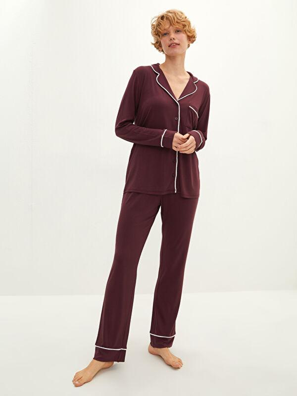 Gömlek Yaka Düz Uzun Kollu Cep Detaylı Viskon Kadın Pijama Takımı - LC WAIKIKI