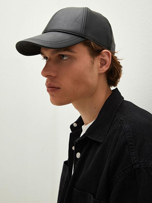 Deri Görünümlü Erkek Kep Şapka - LC WAIKIKI