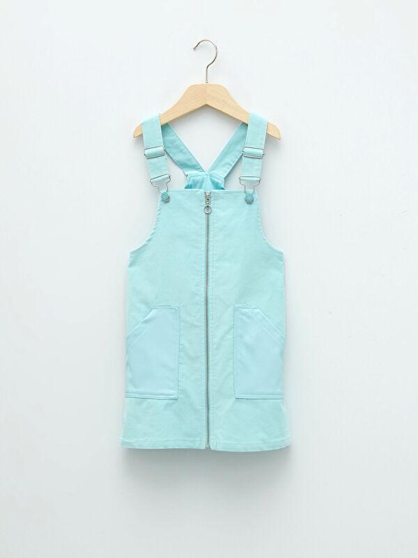 Kare Yaka Basic Askılı Kız Çocuk Salopet Elbise - LC WAIKIKI
