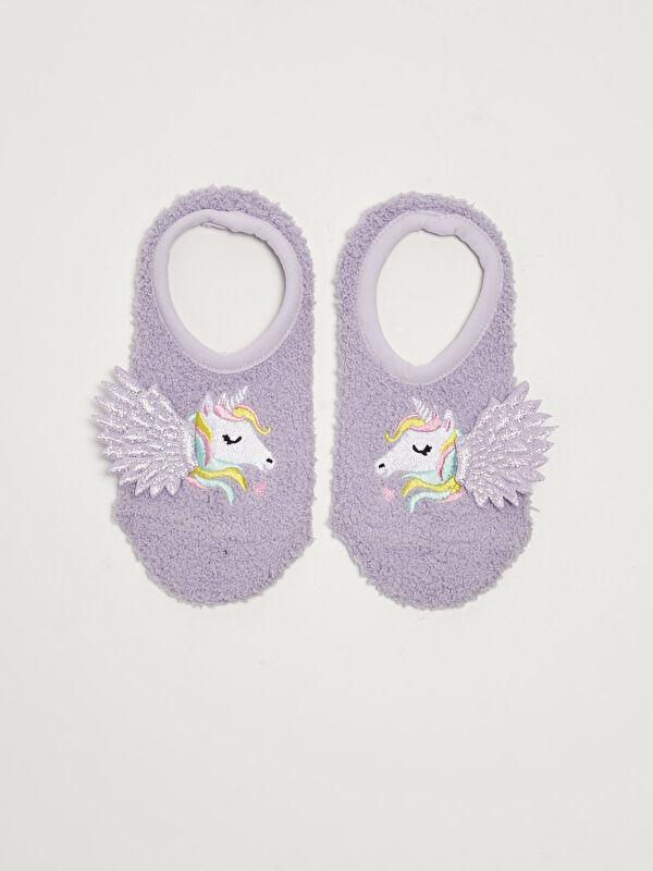Nakış ve Aplike Detaylı Kız Çocuk Ev Çorabı - LC WAIKIKI