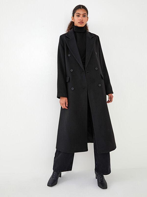 LCW VISION Ceket Yaka Düğme Detaylı Uzun Kollu Kadın Kaşe Kaban - LC WAIKIKI