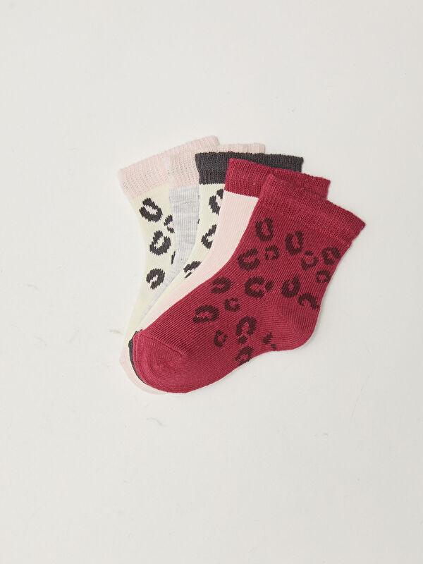 Desenli Kız Bebek Soket Çorap 5'li - LC WAIKIKI