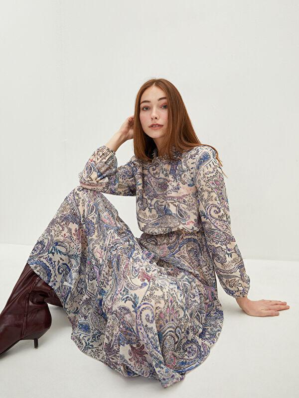 LCW CLASSIC Fırfırlı Yaka Desenli Uzun Kollu Şifon Kumaş Kadın Elbise - LC WAIKIKI