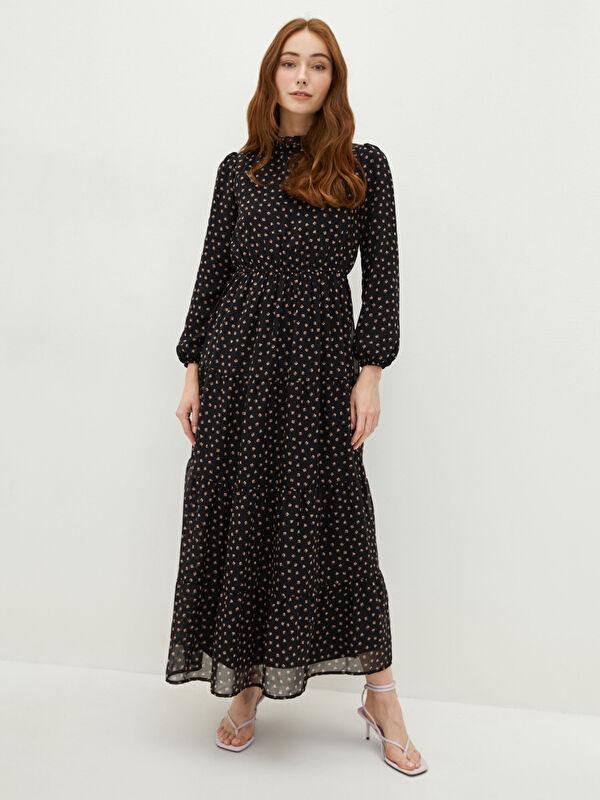 LCW CLASSIC Fırfırlı Yaka Çiçekli Uzun Kollu Şifon Kadın Elbise - LC WAIKIKI